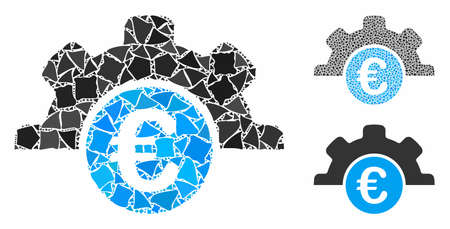 Euro technology mosaic of bumpy elements in various sizes and shades, based on Euro technology icon. Vector bumpy dots are combined into collage. Euro technology icons collage with dotted pattern.  イラスト・ベクター素材