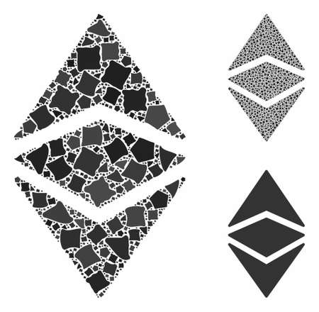 Ethereum classic mosaic of raggy items in variable sizes and shades, based on Ethereum classic icon. Vector raggy elements are composed into collage.