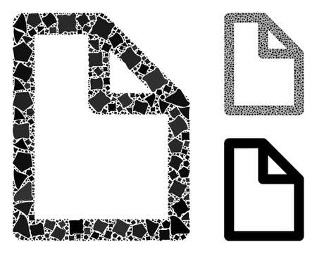 Document page mosaic of bumpy items in various sizes and color tones, based on document page icon. Vector bumpy elements are organized into collage. Document page icons collage with dotted pattern. Illustration
