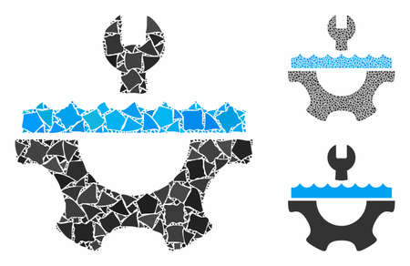 Water service gear composition of raggy parts in different sizes and shades, based on water service gear icon. Vector raggy pieces are combined into collage.  イラスト・ベクター素材