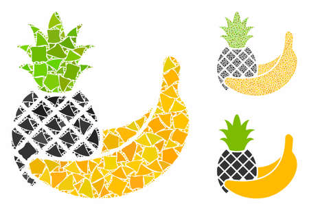Pineapple and banana fruits composition of trembly pieces in various sizes and shades, based on pineapple and banana fruits icon. Vector humpy items are grouped into collage. Illustration