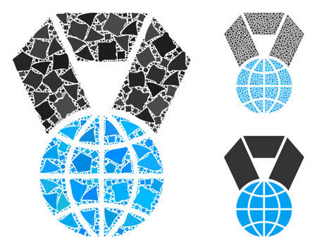 World award composition of ragged elements in variable sizes and color tints, based on world award icon. Vector bumpy parts are united into collage. World award icons collage with dotted pattern.
