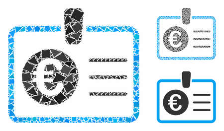 Euro access card mosaic of abrupt items in variable sizes and color hues, based on euro access card icon. Vector trembly items are united into mosaic.