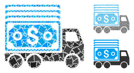 Cash lorry mosaic of bumpy parts in variable sizes and color tones, based on cash lorry icon. Vector irregular parts are grouped into collage. Cash lorry icons collage with dotted pattern.