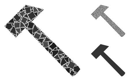 Hammer tool mosaic of ragged items in different sizes and color tinges, based on hammer tool icon. Vector ragged dots are composed into mosaic. Hammer tool icons collage with dotted pattern.