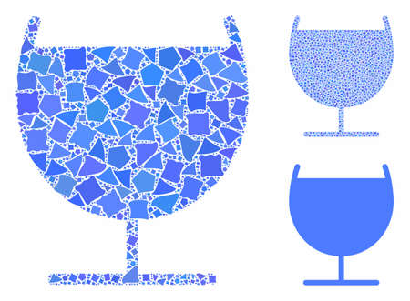 Alcohol glass composition of inequal parts in different sizes and shades, based on alcohol glass icon. Vector inequal parts are combined into collage. Alcohol glass icons collage with dotted pattern.
