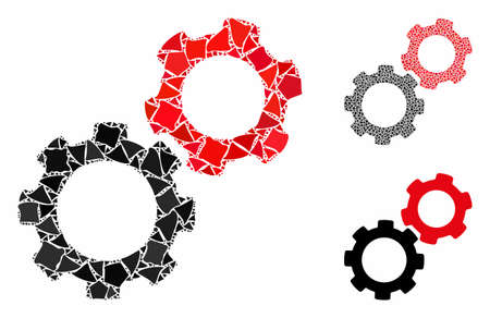 Gears composition of raggy parts in various sizes and color tinges, based on gears icon. Vector tuberous elements are organized into collage. Gears icons collage with dotted pattern.