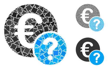 Euro status mosaic of rugged pieces in various sizes and color tones, based on Euro status icon. Vector rugged items are organized into mosaic. Euro status icons collage with dotted pattern. 向量圖像