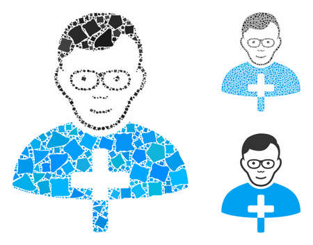 Catholic shepherd composition of raggy elements in different sizes and color tones, based on catholic shepherd icon. Vector irregular elements are composed into collage.