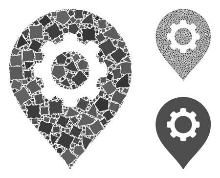 Gear factory marker composition of inequal parts in variable sizes and color tones, based on gear factory marker icon. Vector inequal dots are combined into composition.