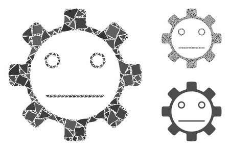 Gear neutral smiley composition of abrupt items in different sizes and color tints, based on gear neutral smiley icon. Vector raggy items are organized into collage.