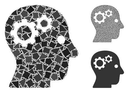 Intellect gears mosaic of ragged pieces in various sizes and color hues, based on intellect gears icon. Vector ragged pieces are grouped into collage.