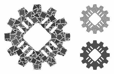 Hardware gear mosaic of rugged elements in various sizes and color hues, based on hardware gear icon. Vector unequal elements are grouped into mosaic. Hardware gear icons collage with dotted pattern.  イラスト・ベクター素材