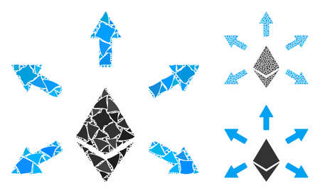 Ethereum emission mosaic of rugged items in different sizes and color tones, based on Ethereum emission icon. Vector tremulant dots are composed into mosaic.