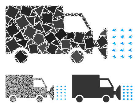 Street washing car composition of bumpy elements in various sizes and shades, based on street washing car icon. Vector tuberous pieces are combined into collage.