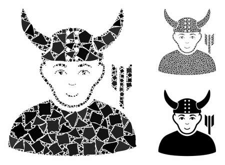 Horned warrior composition of rugged elements in different sizes and shades, based on horned warrior icon. Vector inequal elements are grouped into composition. Ilustração