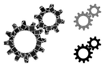 Reduction gears composition of uneven elements in different sizes and color tones, based on reduction gears icon. Vector tuberous items are combined into collage.  イラスト・ベクター素材