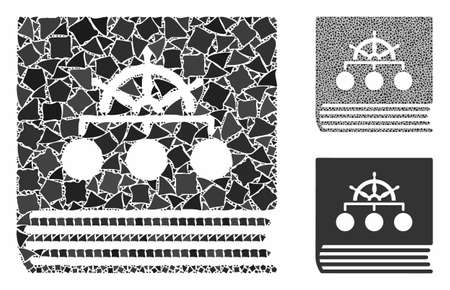 Ship guide book composition of raggy parts in various sizes and shades, based on ship guide book icon. Vector raggy elements are united into collage. Ship guide book icons collage with dotted pattern.