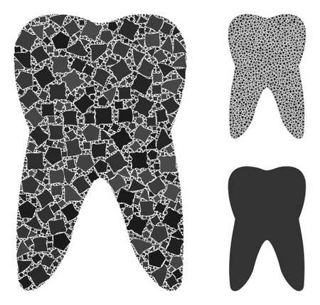 Tooth mosaic of abrupt parts in different sizes and color tinges, based on tooth icon. Vector uneven parts are united into mosaic. Tooth icons collage with dotted pattern.