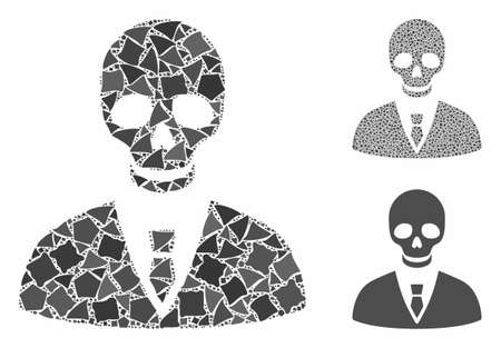Deadly manager composition of raggy pieces in variable sizes and color hues, based on deadly manager icon. Vector raggy dots are united into collage. Deadly manager icons collage with dotted pattern.