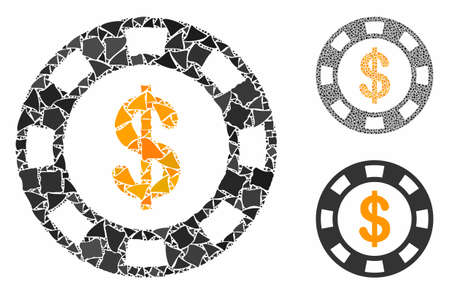 Dollar casino chip composition of uneven parts in various sizes and color hues, based on dollar casino chip icon. Vector rough dots are grouped into collage.