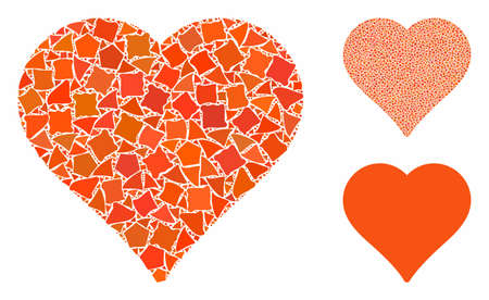 Heart mosaic of inequal parts in different sizes and color hues, based on heart icon. Vector uneven elements are organized into mosaic. Heart icons collage with dotted pattern. Stock Illustratie