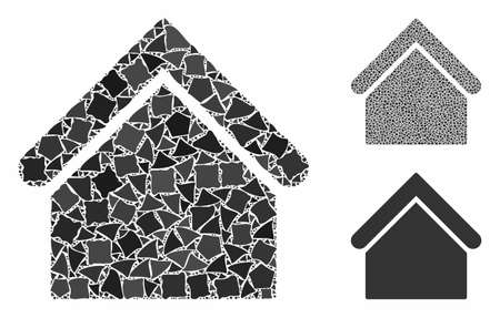 Base building composition of abrupt pieces in various sizes and shades, based on base building icon. Vector abrupt elements are grouped into composition.