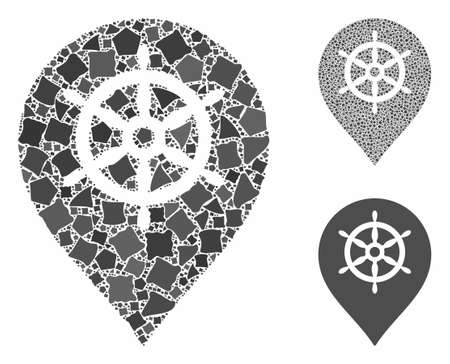 Ship wheel marker composition of irregular pieces in different sizes and color tinges, based on ship wheel marker icon. Vector tremulant pieces are grouped into composition.