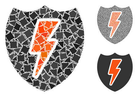 Power shield composition of joggly parts in different sizes and color tints, based on power shield icon. Vector joggly elements are composed into collage. Ilustrace