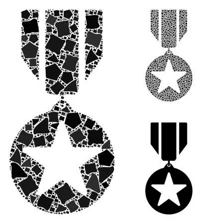 Award composition of rugged parts in variable sizes and color tinges, based on award icon. Vector bumpy elements are united into composition. Award icons collage with dotted pattern. Ilustrace