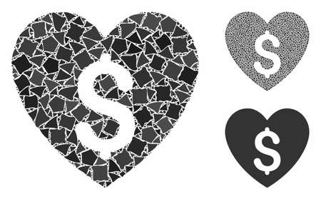 Paid love mosaic of tremulant items in variable sizes and color tones, based on paid love icon. Vector abrupt elements are organized into collage. Paid love icons collage with dotted pattern.