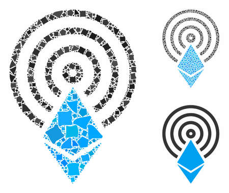 Ethereum crystal airdrop mosaic of rough pieces in various sizes and color tinges, based on Ethereum crystal airdrop icon. Vector raggy pieces are united into mosaic.