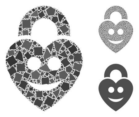 Happy love lock mosaic of rough items in variable sizes and color hues, based on happy love lock icon. Vector ragged items are organized into mosaic. Happy love lock icons collage with dotted pattern.