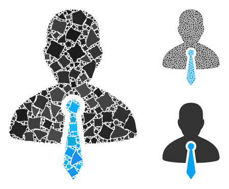 Lawyer tie mosaic of rough elements in various sizes and color tinges, based on lawyer tie icon. Vector ragged elements are composed into collage. Lawyer tie icons collage with dotted pattern. Illusztráció