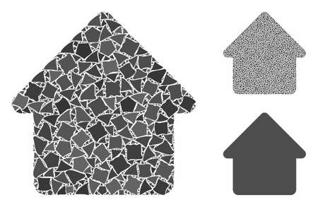 Cabin composition of inequal pieces in different sizes and shades, based on cabin icon. Vector inequal dots are united into collage. Cabin icons collage with dotted pattern. Ilustracja