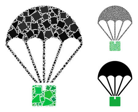 Cargo parachute composition of trembly parts in variable sizes and shades, based on cargo parachute icon. Vector trembly pieces are grouped into collage.