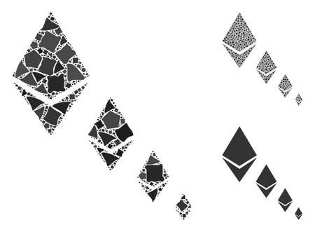 Ethereum crystal defaltion mosaic of rough parts in various sizes and color hues, based on Ethereum crystal defaltion icon. Vector trembly parts are grouped into collage.