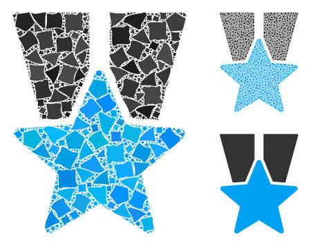 Star medal composition of abrupt pieces in variable sizes and color hues, based on star medal icon. Vector uneven pieces are united into collage. Star medal icons collage with dotted pattern.
