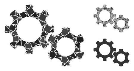 Gears mosaic of rugged parts in various sizes and color tints, based on gears icon. Vector raggy parts are composed into mosaic. Gears icons collage with dotted pattern.