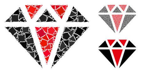 Diamond composition of inequal elements in different sizes and color tones, based on diamond icon. Vector unequal pieces are grouped into collage. Diamond icons collage with dotted pattern.