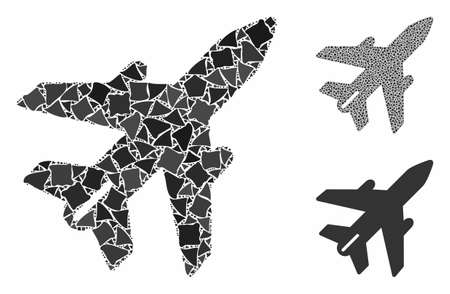 Airplane composition of uneven items in various sizes and color tones, based on airplane icon. Vector abrupt items are composed into collage. Airplane icons collage with dotted pattern.