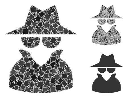 Spy mosaic of irregular items in different sizes and color tints, based on spy icon. Vector irregular items are combined into composition. Spy icons collage with dotted pattern.