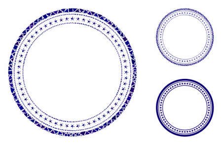 Double circular star frame mosaic of humpy pieces in variable sizes and shades, based on double circular star frame icon. Vector humpy items are grouped into mosaic.