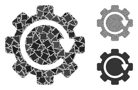 Gear rotation direction mosaic of unequal parts in different sizes and color tones, based on gear rotation direction icon. Vector bumpy parts are composed into illustration.