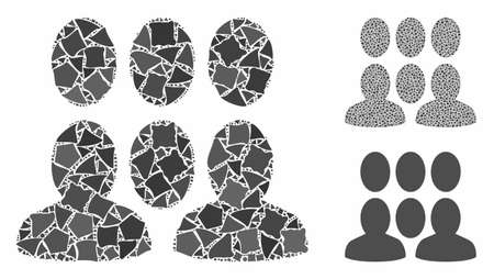 Auditory mosaic of unequal items in variable sizes and color tints, based on auditory icon. Vector unequal pieces are composed into mosaic. Auditory icons collage with dotted pattern. Illustration