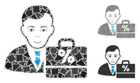 Tax accounter mosaic of rugged pieces in different sizes and color tones, based on tax accounter icon. Vector inequal pieces are united into mosaic. Tax accounter icons collage with dotted pattern.