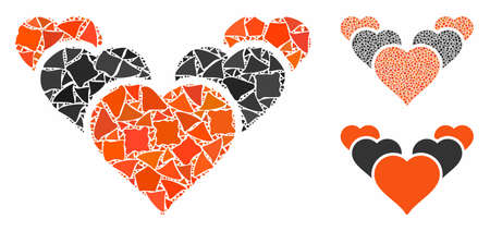 Love hearts composition of ragged elements in variable sizes and color tones, based on love hearts icon. Vector trembly elements are organized into collage. Ilustrace