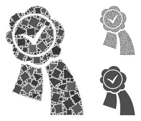 Approved seal composition of raggy pieces in variable sizes and color tints, based on approved seal icon. Vector bumpy pieces are united into composition.