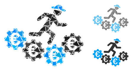 Euro gears runner mosaic of tuberous pieces in different sizes and color tones, based on Euro gears runner icon. Vector irregular pieces are organized into collage.