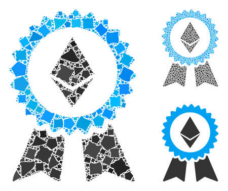 Ethereum award seal mosaic of uneven items in variable sizes and color tints, based on Ethereum award seal icon. Vector abrupt dots are combined into collage.
